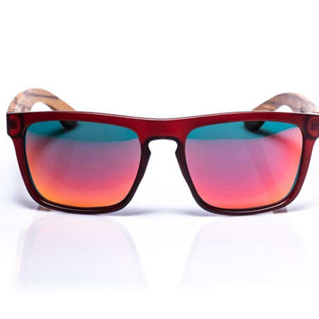 EP2  Wood Arm Sunglasses - Dark Red with Mirror Lens