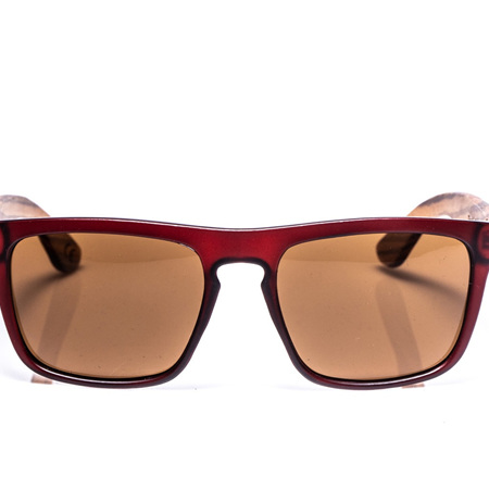EP2  Wood Arm Sunglasses - Red & Brown Lens