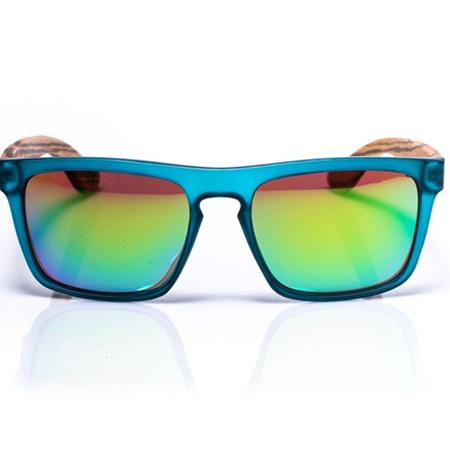 EP2 Wood Arm Sunglasses - Teal Mirror Lens