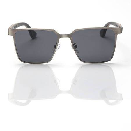 EP5 Wooden Arm Sunglasses-Silver Metal with Grey Lens