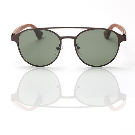 EP7 Wooden Arm Sunglasses - Chocolate Metal with Green Lens