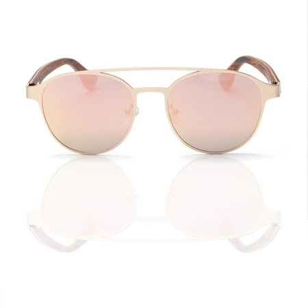 EP7 Wooden Arm Sunglasses - Gold with Gold Lens