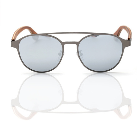 EP7 Wooden Arm Sunglasses - Gun Metal with Silver Lens