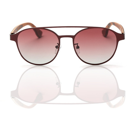 EP7  Wooden Arm Sunglasses - Red Metal with Maroon Lens