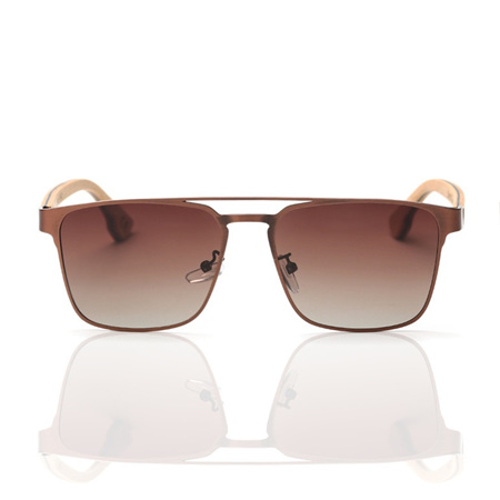 EP8 Wooden Arm Sunglasses-Gold Metal with Brown Lens