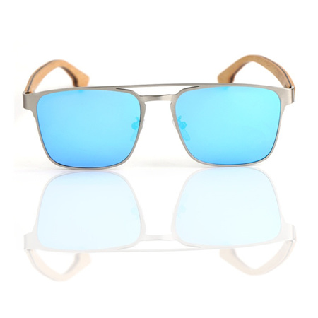 EP8 Wooden Arm Sunglasses - Silver Metal with ICE  Lens
