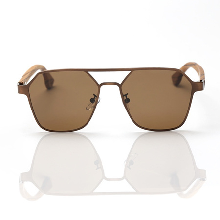 EP9 Wooden Arm Sunglasses-Rose Metal with Brown Lens