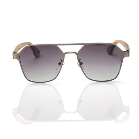 EP9 Wooden Arm Sunglasses-Silver Metal with Grey Lens