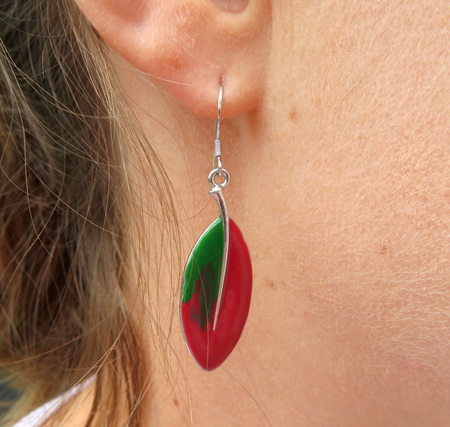 ER12 Pohutukawa leaf earrings