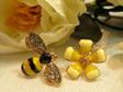 ER512 Bee and Flower Stud Earrings
