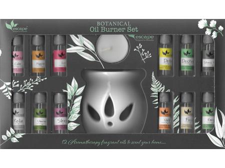 ESCAPE Aromatherapy Oil Burner Set with 12 Oils