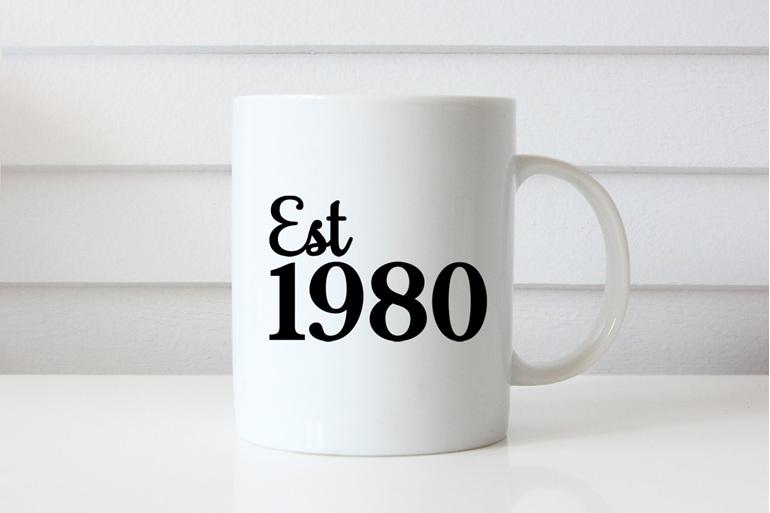 Established year of birth personalised mug