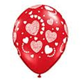 Etched Heart Balloon - Ruby Red