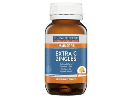 Ethical Nutrients ImmuZorb Extra C Zingles Orange 50 Chewable Tablets  EXP:8/21