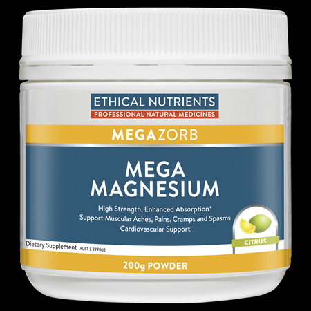 Ethical Nutrients MEGAZORB Mega Magnesium Powder 200g Citrus