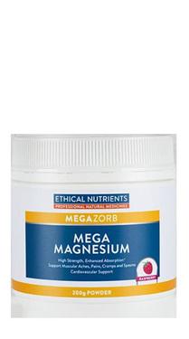 Ethical Nutrients MEGAZORB Mega Magnesium Powder 200g  Raspberry