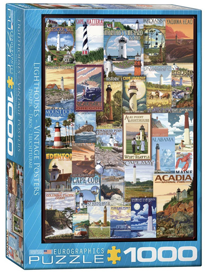 Eurographics 1000 Piece Jigsaw Puzzle: Vintage Lighthouse Posters