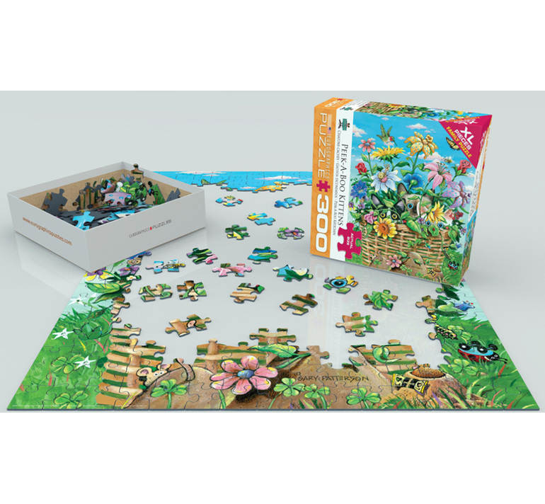 Eurographics 300XL piece  puzzle Peek-a-Boo Kittens  at www.puzzlesnz.co.nz
