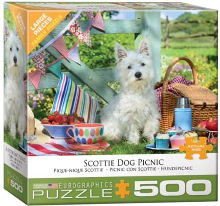 Eurographics 500 Large Piece  Jigsaw Puzzle:   Scottie Dog Picnic