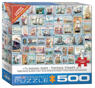 Eurographics 500 Larger Piece Jigsaw Puzzle: Sailing Ships Vintage Stamps