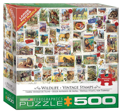 Eurographics 500 Larger Piece Jigsaw Puzzle: Wildlife Vintage Stamps