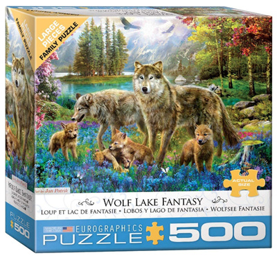 Eurographics 500 Larger Piece Jigsaw Puzzle: Wolf Lake Fantasy