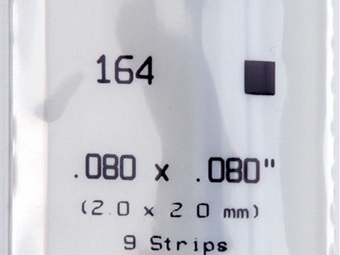 Evergreen 164 Strip Styrene - 2.0 x 2.0mm Strips