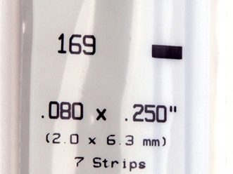 Evergreen 169 Strip Styrene - 2.0 x 6.3mm Strips