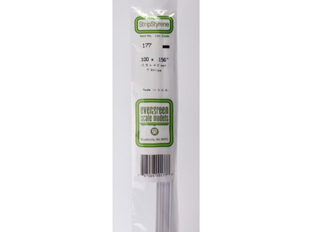 Evergreen 177 Strip Styrene - 2.5 x 4.0mm Strips