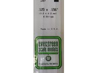 Evergreen 187 Strip Styrene - 3.2 x 4.0mm Strips