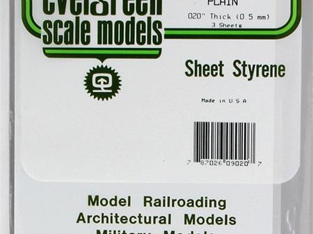 Evergreen 9020 Sheet Styrene Plain .5mm
