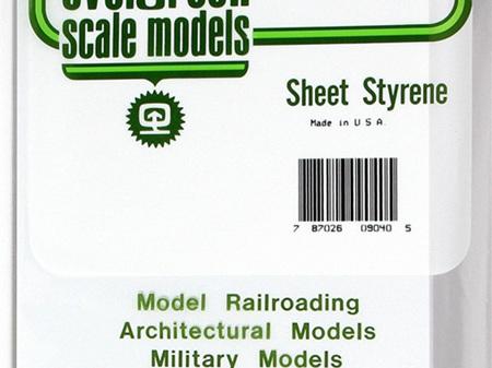 Evergreen 9040 Sheet Styrene Plain 1.0mm