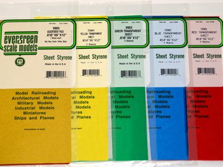 """Evergreen 9903 Green Transparent Sheet .010""""x6""""x12"""" 2 Sheets"""