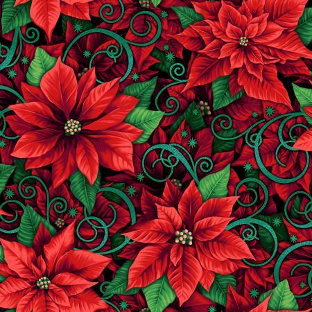 Evergreen Prized Poinsettias Holly Metallic RJ602HO1M
