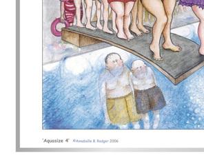 Excerpt from cartoon artprint: women having fun springboard diving
