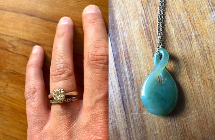 Existing engagement and wedding ring, and pounamu twist pendant inspiration