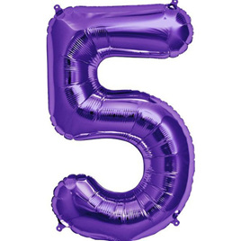 Extra large purple number 5 foil balloon