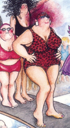 extract from card: women waiting to use diving springboard