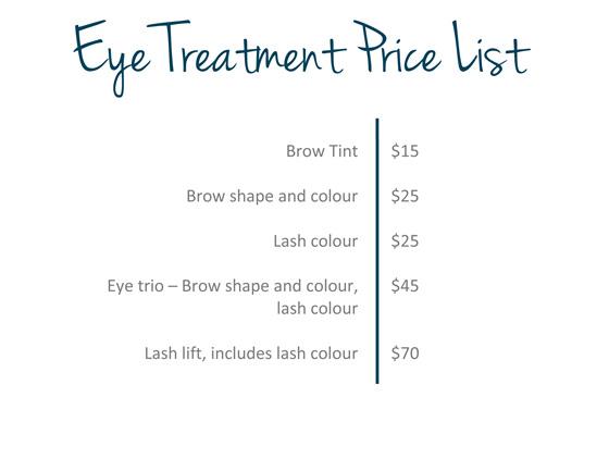 Eye treatments price list