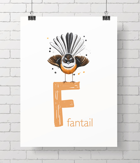 F for fantail letter print!  One off!