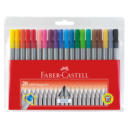 Faber-Castell Grip Finepen Wallet of 20