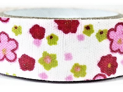 Fabric Adhesive Tape Boho Flowers: Pink CLEARANCE