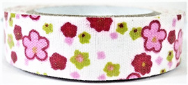 Fabric Adhesive Tape - Bright Pink & Red Flowers