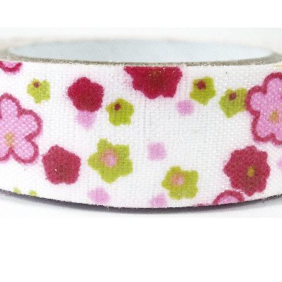 Fabric Adhesive Tape - Bright Pink & Red Flowers on White Background