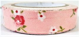 Fabric Adhesive Tape Flowers on Coral Pink Background