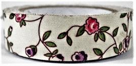 Fabric Adhesive Tape Flowers on Cream Background: Pink & Purple