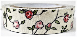 Fabric Adhesive Tape Flowers on Cream Background: Pink & Red