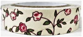 Fabric Adhesive Tape Flowers on Cream Background: Pink