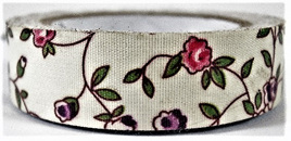 Fabric Adhesive Tape Flowers on Cream Background: Pink & Purple