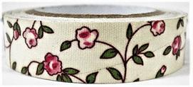 Fabric Adhesive Tape - Flowers on Cream: Pink